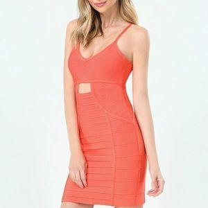 BEBE | Coral Cut Out Bandage Bodycon Mini Dress XS